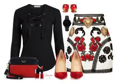 """""""Untitled #2128"""" by gemique ❤ liked on Polyvore featuring Dolce&Gabbana, Christian Louboutin, CLUSE, Prada, Chanel and Giorgio Armani"""