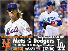 "THINK BLUE: HAPPY THORSDAY Tonight your New York Mets (20-12) play the 3rd of the 4-game set against the Los Angeles Dodgers (17-16). Noah Syndergaard gets the start as he'll look to bounce back from back-to-back losses while Japanese ""rookie"" Kenta Maeda goes for LA also looking to get back in the win column. He's 0-1 with a ND in his last 2 starts. Don't miss all the action at 10:10 PM ET @ Dodger Stadium on SNY and can be heard on 710 WOR Radio. #LGM #UnfinishedBusiness #Thorsday…"