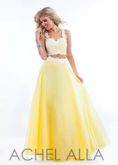 Straps Sweetheart Two Piece Yellow White Lace Applique Beaded Prom Dress