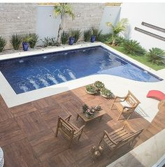 Small Backyard Pools, Swimming Pools Backyard, Pool Landscaping, Inground Pool Designs, Modern Backyard Design, Backyard Pool Designs, Pool Remodel, My Pool, Water Features In The Garden