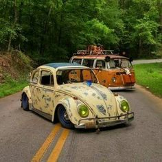 Volkswagens in the road