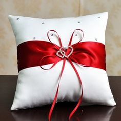 Elegant Ring Pillow in Satin With Ribbons/Rhinestones Glam Pillows, Ring Pillows, Throw Pillows, Wedding Pillows, Ring Pillow Wedding, Christmas Crafts, Christmas Decorations, Gold Cushions, Flower Girl Basket