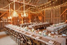 #weddingideas the simple addition of a few strings of fairy lights can take a barn and turn it into palace