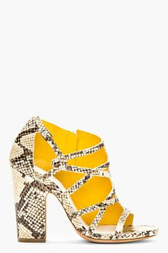 Maison Martin Margiela Ecru Leather Python-embossed Heeled Sandals for women | SSENSE