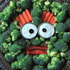 Monster head veggie platter.