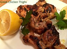 Greek Chicken Thighs by A New York Foodie combines the flavors of the Mediterranean in this wonderful chicken dish!