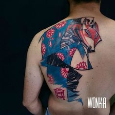 WONKA Wonka, tattoo artist based in Madrid and working for Humanfly Studio has a unique style and creates inspiring tattoos. Black and white or colored, looking at his work you immediately think about the cubist movement. You can check out his work below and keep up to date with it on his Facebook page.