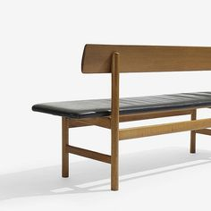 Børge Mogensen bench   Fredericia Stolefabrik   Denmark, 1956   stained oak, leather   67 w x 17.5 d x 30 h inches   Signed with decal manufacturer's label to underside: [FF Aktieselskabet Fredericia Stolefabrik Made in Denmark Design: Borge Mogensen].