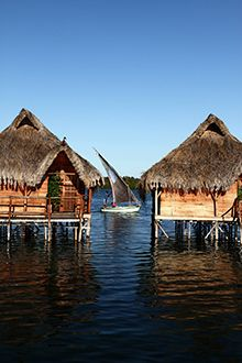 Flamingo Bay Water Lodge~Mozambique encircled by water at high tide ~ startlingly impressive