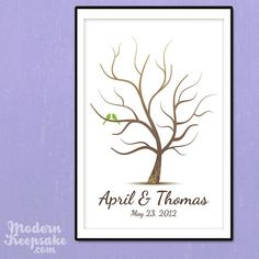 Wedding Fingerprint Tree Guest Book   Whimsy by PERSONALIZEDprints, $55.00