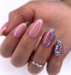 Cute Acrylic Nails, Acrylic Nail Designs, Glitter Nails, Cute Nails, Pink Nails, Nail Mania, Oval Nails, Pretty Nail Art, Manicure E Pedicure