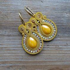 Mustard earrings soutache earrings orecchini soutache | Etsy Soutache Earrings, Boho Earrings, Crystal Earrings, Clip On Earrings, Decorative Tape, Stick Pins, Embroidery Techniques, Belly Button Rings, Glass Beads