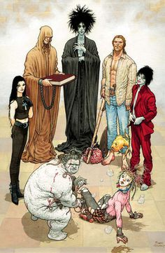 "The Endless from ""The Sandman"" by Neil Gaiman. The Sandman focuses on the character of Morpheus AKA Dream (back, center). Also depicted here are his siblings (from l-r, clockwise): Destruction, Desire, Delirium, Despair, Death, and Destiny. Art by Frank Quitely"