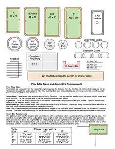Pool Table Room Chart – DK Billiard Service, Pool Tables For Sale, Billiard Supplies, Orange, CA – Game Room İdeas 2020