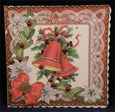 Christmas Bells Red Poinsettia (8 x 8 decoupaged card)