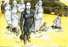 BROTHERTEDD.COM - Peter Pound concept art for MAD MAX: FURY ROAD.... Fantasy Movies, Fantasy Art, Imperator Furiosa, Comic Book Guy, Arte Sci Fi, Character Group, Mad Max Fury Road, Group Art, Post Apocalypse