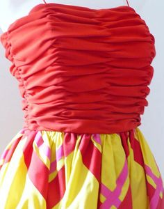 Bill Blass - Robe Mini de Cocktail - Jaune et Rouge - Années 80