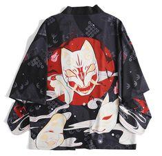 Kimono Shirt, Kimono Cardigan, Kimono Dress, Kimono Jacket, Japanese Fox, Japanese Gifts, Japanese Kimono, Red And Black Outfits, Purple And Black
