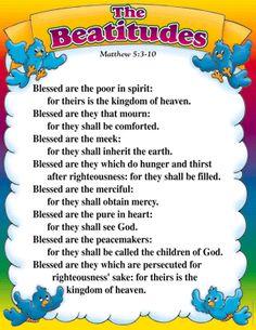 the Beatitudes..Matthew 5:3-12