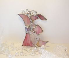 Letter E. Initial capital. Stained Glass Suncatcher