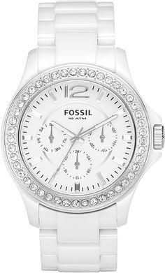 #Fossil Women's CE1010 White Ceramic Bracelet White Glitz Analog Dial Multifunction #Watch
