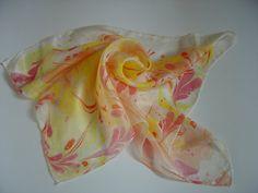 Hand painted silk bandana. Abstract marbling by AdeleDaniele