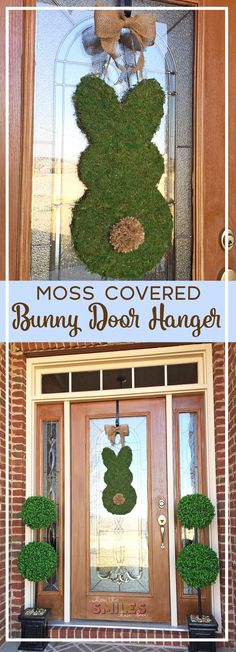 Simple Moss Covered Bunny Door Hanger for Spring | Where The Smiles Have Been #Spring #Easter #bunny #farmhouse