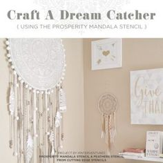 How to make a Giant Prosperity DIY Mandala Dream Catcher with Cutting Edge Stencils. Step by step tutorial, tips, and additional ideas. catcher craft step by step Giant Prosperity DIY Mandala Dream Catcher Tutorial Dream Catcher Use, Big Dream Catchers, Dream Catcher Decor, Dream Catcher Bedroom, Doily Dream Catchers, Dreamcatchers, Diy Home Decor, Room Decor, Mandala Stencils