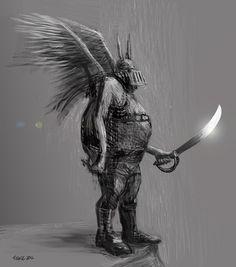 Concept Illustration Drawing Viking Winged Warrior © Nathalie Tierce