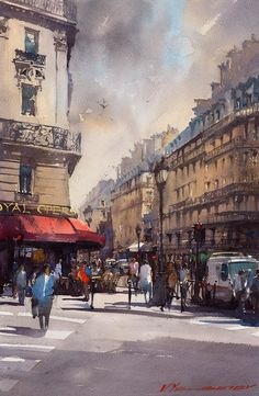 "Vladislav Yeliseyev   ""Le Royal Opera"", Paris watercolor 15""X22"""