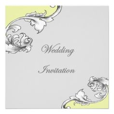 Stylish Grey Yellow Ornate Wedding Invitations  A wonderful design simple yet stylish classic yet modern in grey with a touch of yellow and ornate swirls. This wedding invitation is bound to impress your guests and set the tone for a stylish wedding day.