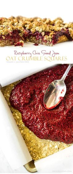 Raspberry Chia Seed Jam Oat Crumble Squares (Vegan + Gluten Free) *remove the coconut oil and replace with date paste for a heart healthy snack Vegan Treats, Vegan Desserts, Vegan Recipes, Dessert Recipes, Good Healthy Recipes, Raspberry Recipes Vegan, Snack Recipes, Coctails Recipes, Rice Recipes