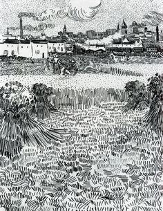 View from the Wheat Field , Arles - Vincent van Gogh 1888 Pen & ink x 24 cm. Drawings View from the Wheat Field , Arles - Vincent van Gogh 1888 oil on canvas 73 x 54 cm Vincent Van Gogh, Van Gogh Drawings, Van Gogh Paintings, Pen Drawings, Drawing Drawing, Abstract Paintings, Art Van, Paul Gauguin, Van Gogh Zeichnungen