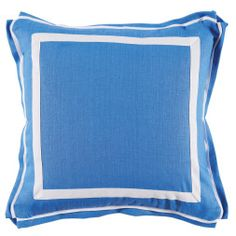 Royal Blue White Border Linen Pillow