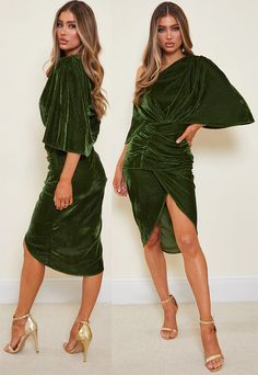 Off the shoulder dress featuring an olive velvet material with off the shoulder drape sleeves and a midi length. Olive Green Velvet Dress 2020. Velvet Party Dress 2021. Dress for Birthday Party 2021. What to wear for New Years Eve Party. Christmas Party Outfits 2020. Christmas Party Dresses 2020. Dress for the Christmas Party 2020. Fashion. Fashionista. Velvet Dress for Winter Birthday Party.