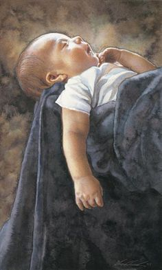 Life Size portrait of a newborn by Steve Hanks