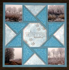 Sarah;s skiing pictures WINTER Quilt layout by Karin van Dalen This is done in paper, but wouldn't it be great using fabric, printing the photos on fabric and using a similar layout ?