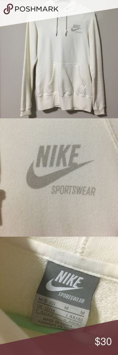 NIKE   Sportswear white hoodie Brand new worn once ! Very comfortable, size medium but can fit a small. There's a little stain on the sleeves but not noticeable Nike Tops Sweatshirts & Hoodies