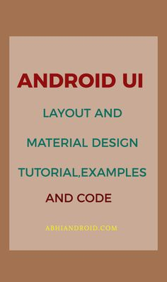 Android UI designing can be done either in XML or programmatically in application. But the Android UI designer mostly prefer XML for defining UI because it separate the presentation from the code and makes easier to visualize, manage, edit and debug the App. Android Ui, Android Studio, Coding Tutorials, Design Tutorials, Studio Layout, Android Developer, Ui Ux Design, Material Design, Programming