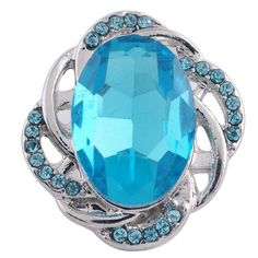 """Chunk Snap Charm Oval Turquoise Stone and Clear Crystals 20mm, 3/4"""" Long"""