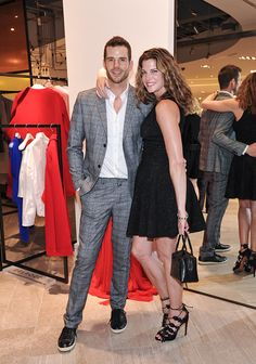 Artist Christopher Beckman and model Stephanie Seymour attend the Hudson's Bay hosts Stephanie Seymour The Face of The Room AW15 campaign at The Room...