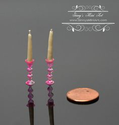 1: 12 Dollhouse Miniature Candles with Pink by SinnysMiniArt