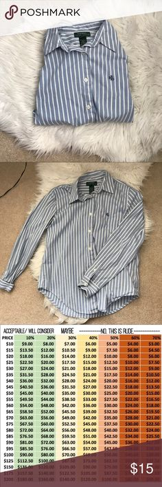 Ralph Lauren polo striped button shirt In amazing condition. ✅ Top 10% Seller  🌟Top Rated Seller  💯 Authentic ⚖️ Reasonable offers ❌No Lowballing 🚫No holds 🚫No discussion of the price and negotiations in the comments. Will only be considering offers ‼️READ THE DESCRIPTION AND DON'T GIVE ME A POOR RATING BECAUSE YOU DIDN'T READ Lauren Ralph Lauren Tops Button Down Shirts