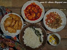 Helena's Kitchen: Steamed Nasi Lemak & Prawn Paste Fried Chicken Wing