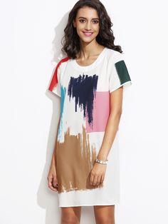 Shop White Brush Stroke Print Shift Dress online. SheIn offers White Brush Stroke Print Shift Dress & more to fit your fashionable needs.