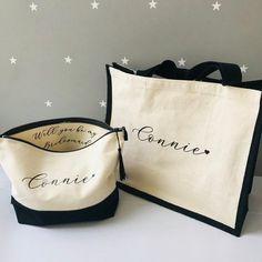 Custom Tote Bags, Personalized Tote Bags, Monogram Tote Bags, Bridesmaid Tote Bags, Be My Bridesmaid, Bridesmaid Proposal, Bridesmaid Gifts Unique, Recycled Denim, Shopper Bag