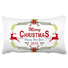 Poieloi Merry Christmas Happy New Year Decorative Throw Pillow Case Cushion Cover Rectangle 20x30 ** This is an Amazon Affiliate link. Continue to the product at the image link.