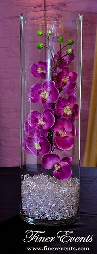 Purple Orchids in Cylinder Vase | by Finer Events