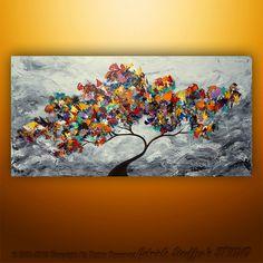 Abstract Modern Landscape Tree Palette Knife Art by Gabriela 48x24 Large. $199.00, via Etsy.