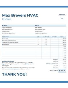 If you are running an hvac business, you need to issue a bill paper containing details of all. 29 Hvac Invoices Templates Free Ideas In 2021 Invoice Template Hvac Templates